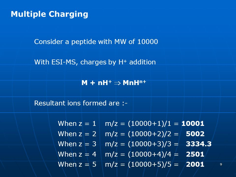 Multiple Charging Consider a peptide with MW of 10000