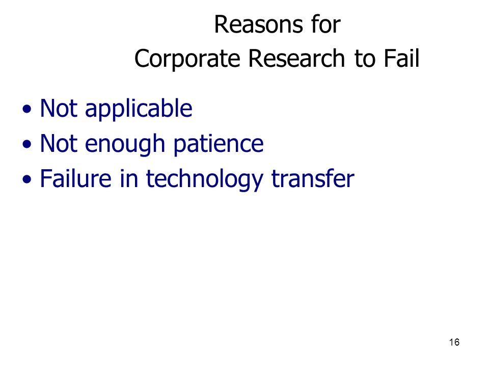 Reasons for Corporate Research to Fail
