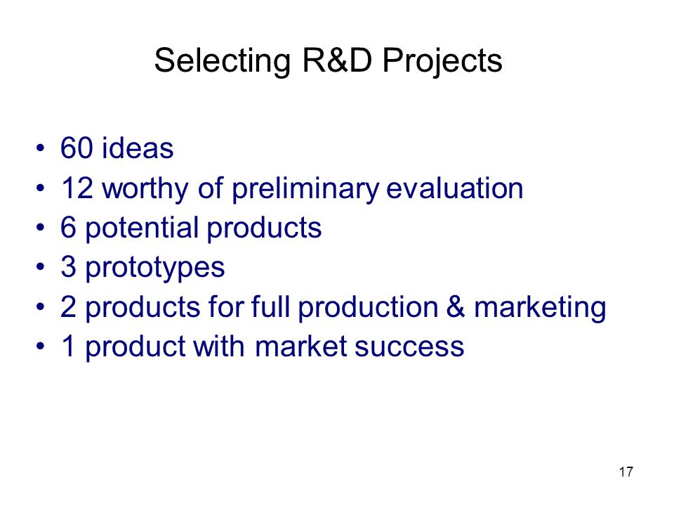 Selecting R&D Projects