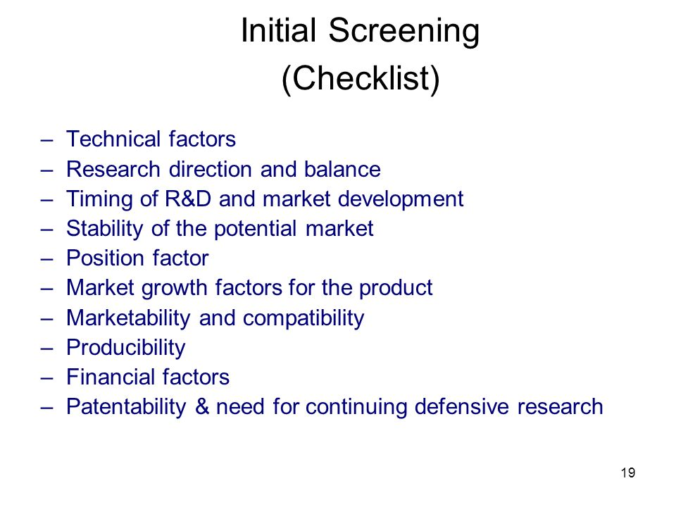 Initial Screening (Checklist)