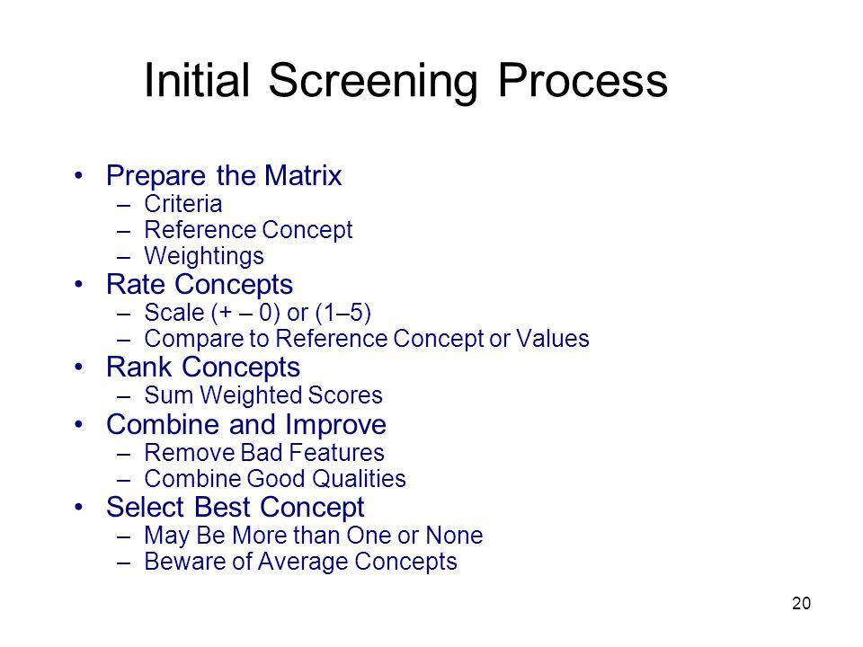 Initial Screening Process