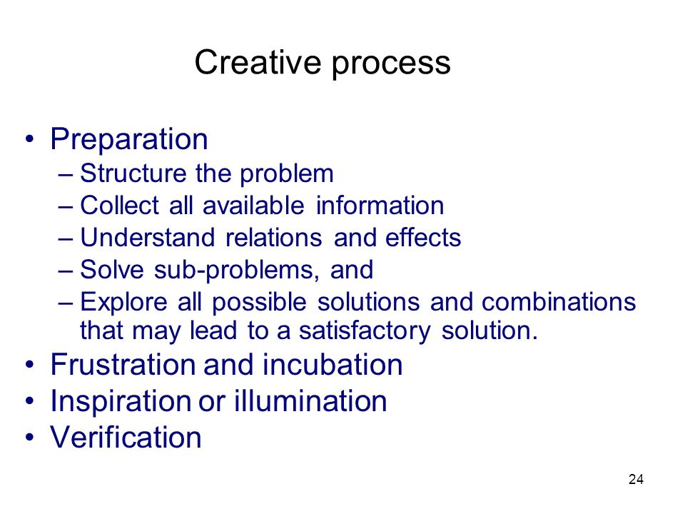 Creative process Preparation Frustration and incubation