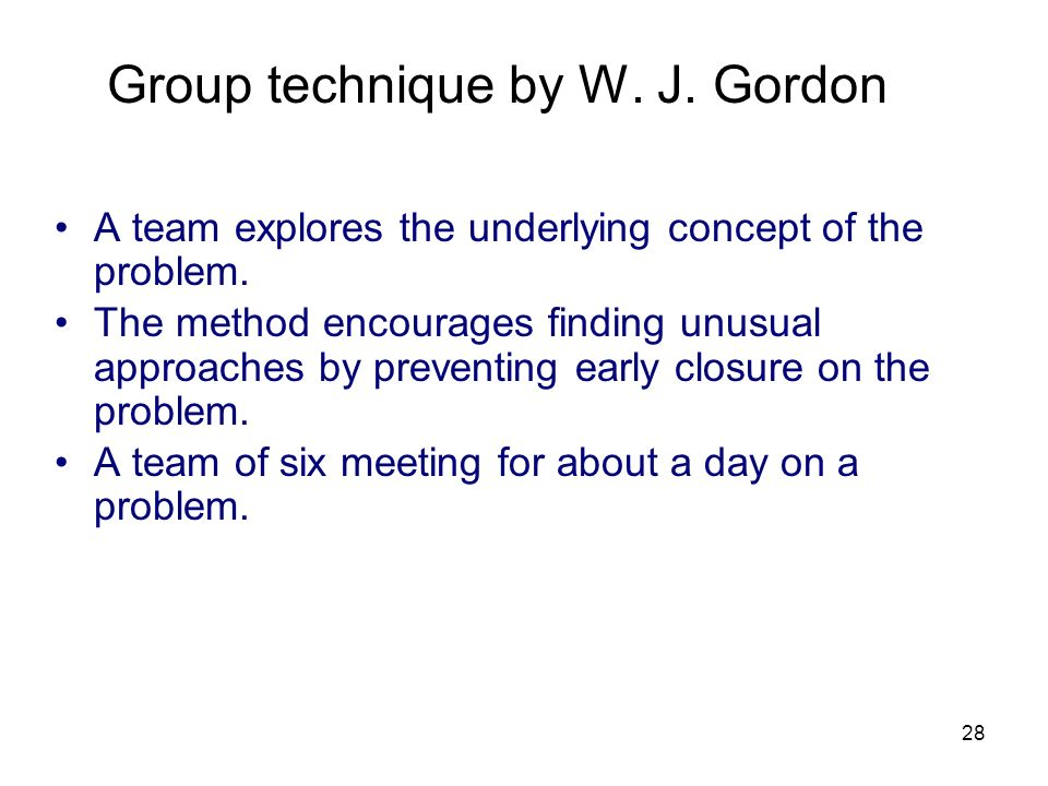 Group technique by W. J. Gordon