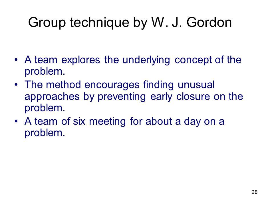 Group technique by W. J. Gordon