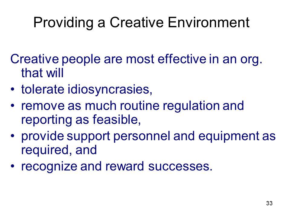 Providing a Creative Environment