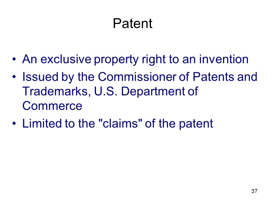 Patent An exclusive property right to an invention