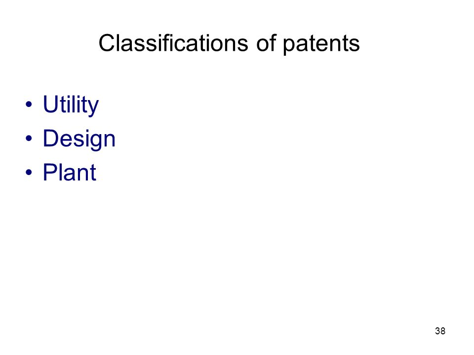 Classifications of patents