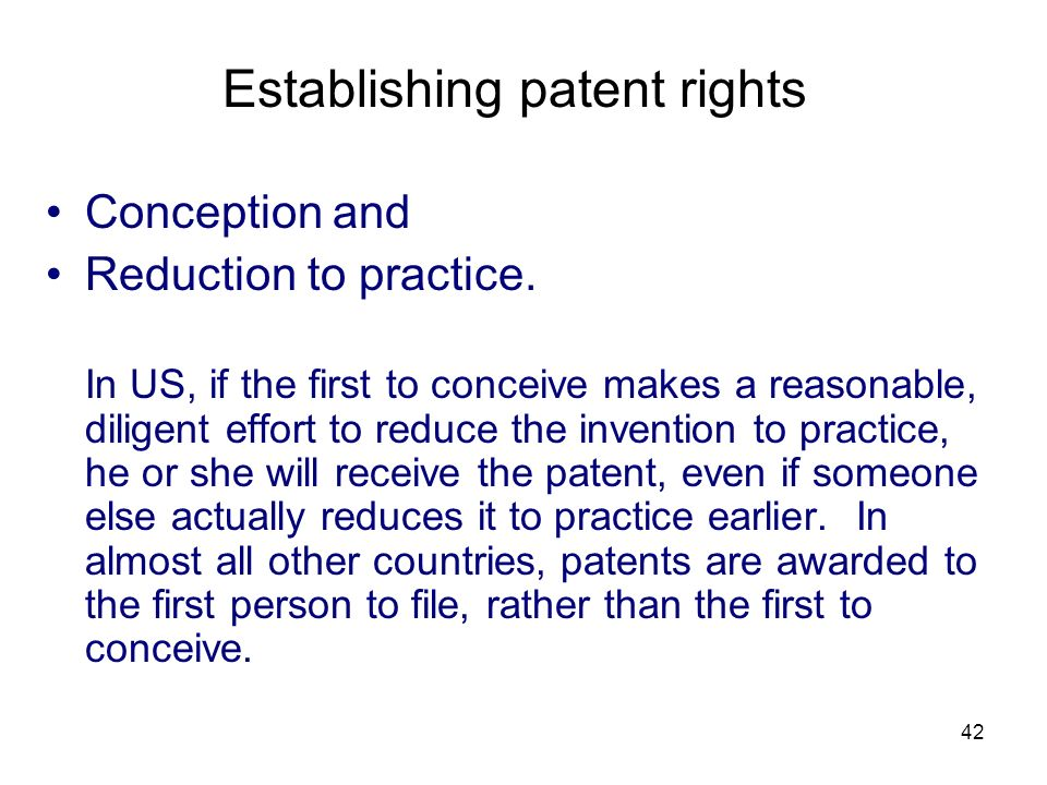 Establishing patent rights