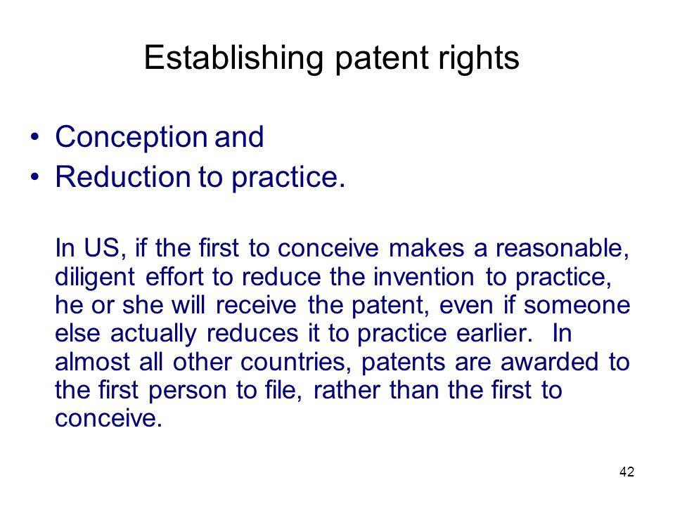 Establishing patent rights