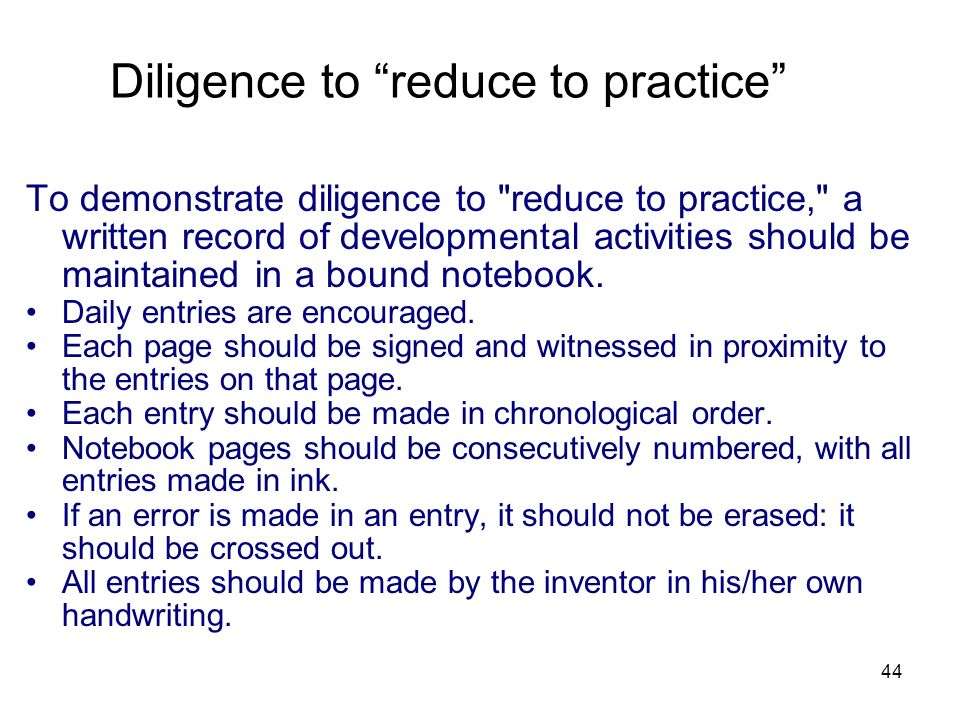 Diligence to reduce to practice