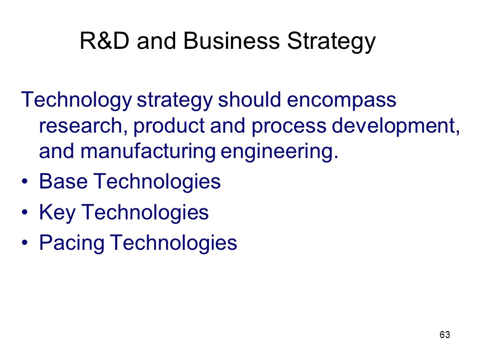 R&D and Business Strategy