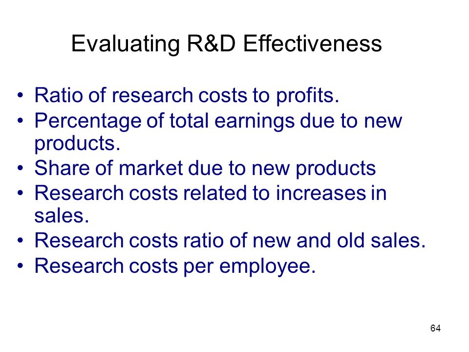 Evaluating R&D Effectiveness