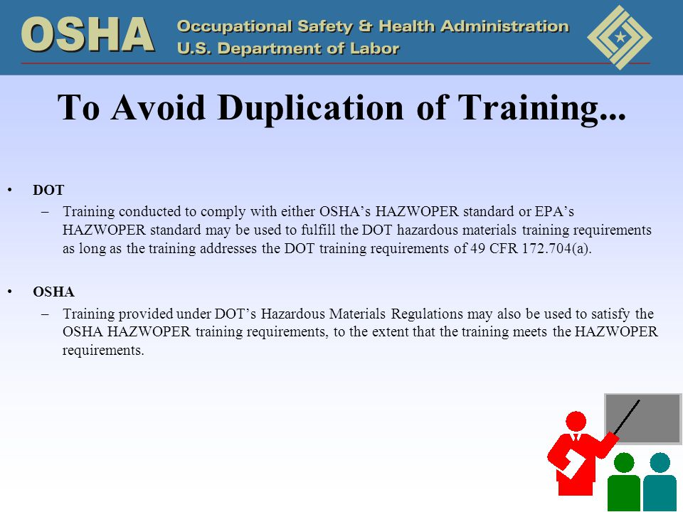 To Avoid Duplication of Training...