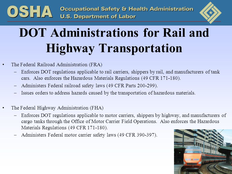 DOT Administrations for Rail and Highway Transportation