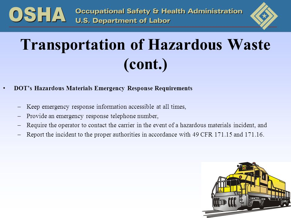 Transportation of Hazardous Waste (cont.)