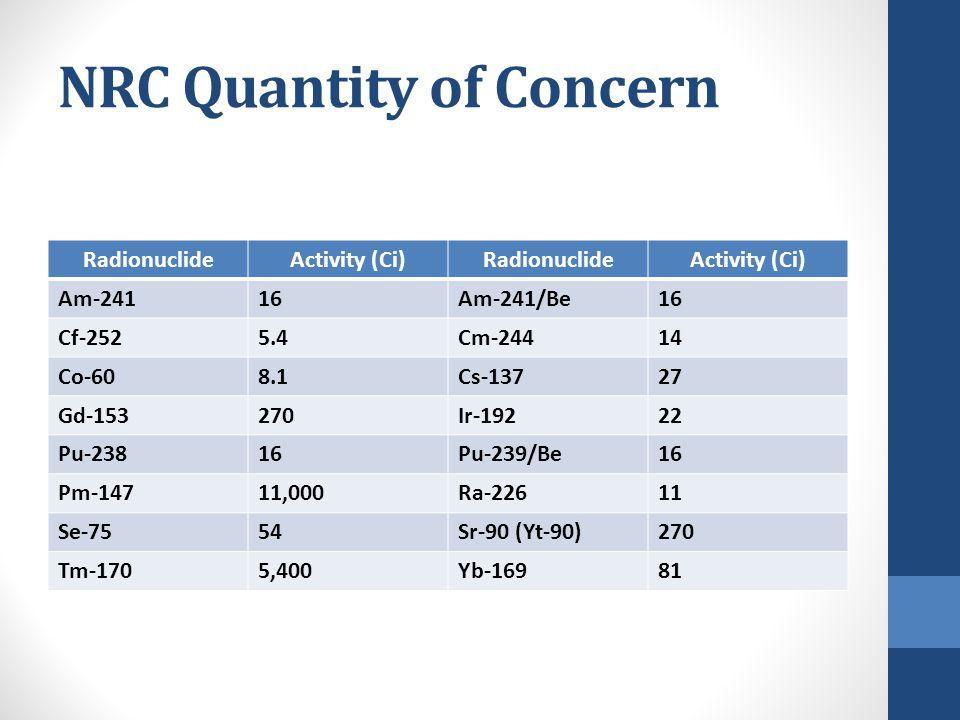 NRC Quantity of Concern