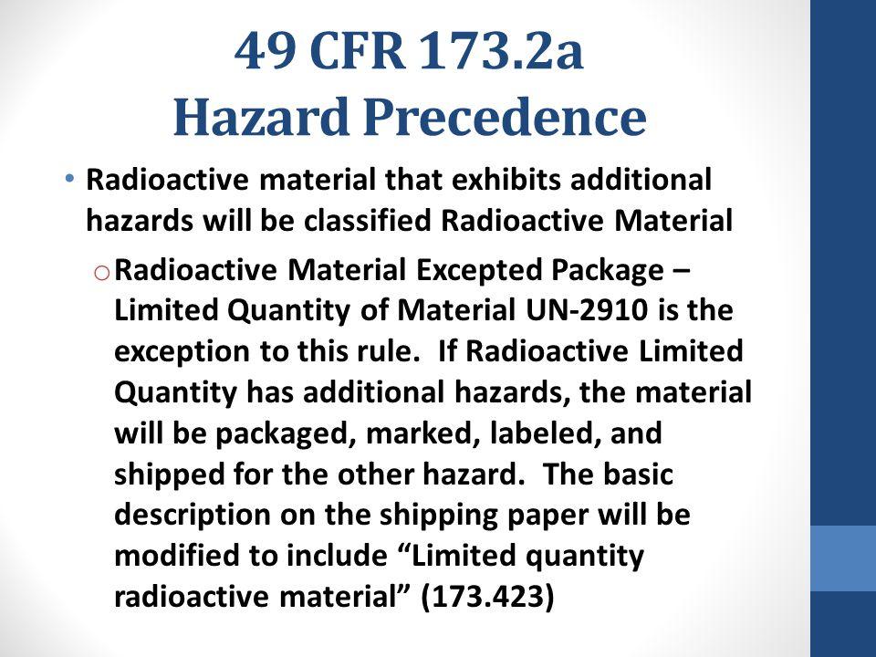 49 CFR 173.2a Hazard Precedence
