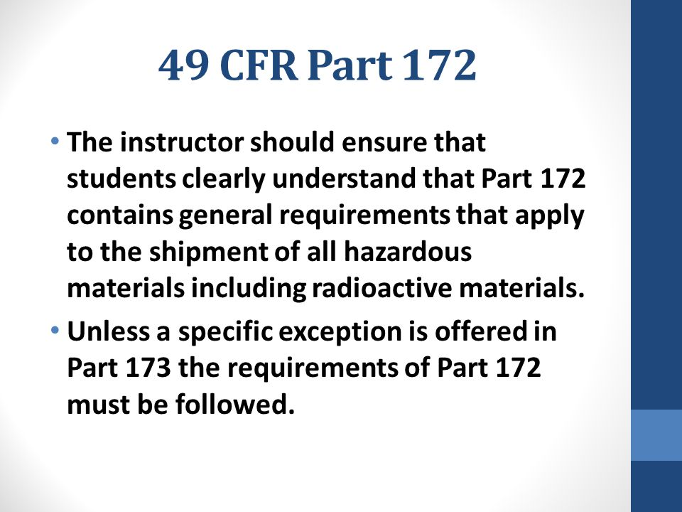 49 CFR Part 172