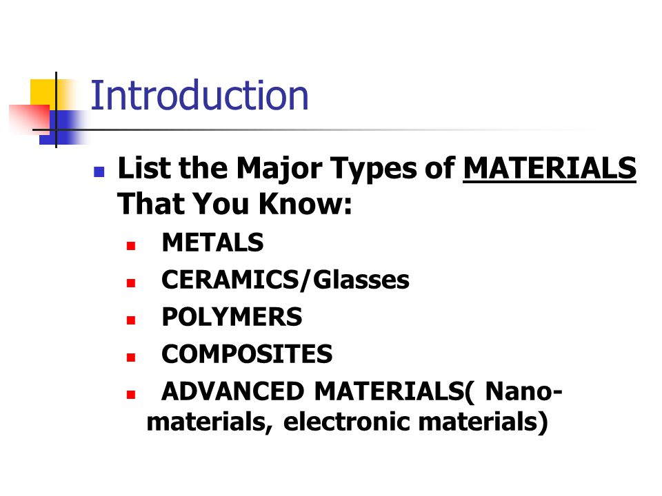 Introduction List the Major Types of MATERIALS That You Know: METALS