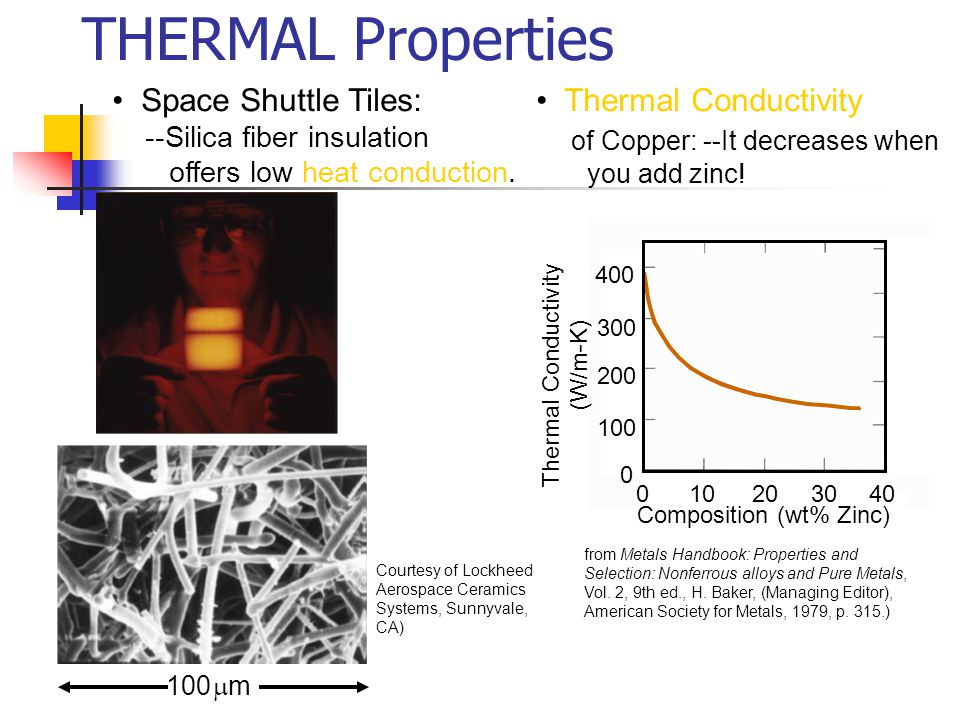 THERMAL Properties • Space Shuttle Tiles: • Thermal Conductivity