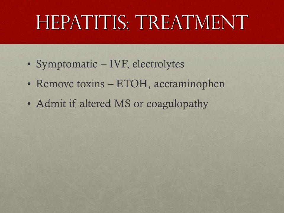 Hepatitis: Treatment Symptomatic – IVF, electrolytes