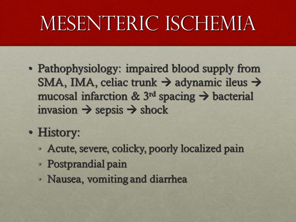 Mesenteric Ischemia History: