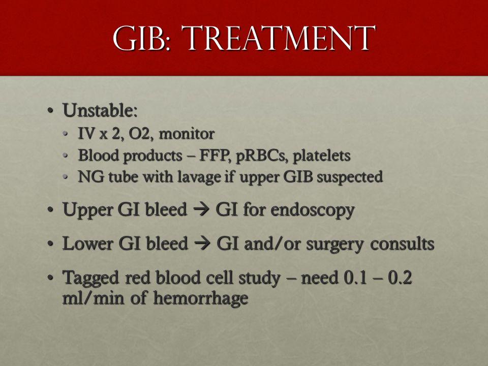 GIB: Treatment Unstable: Upper GI bleed  GI for endoscopy