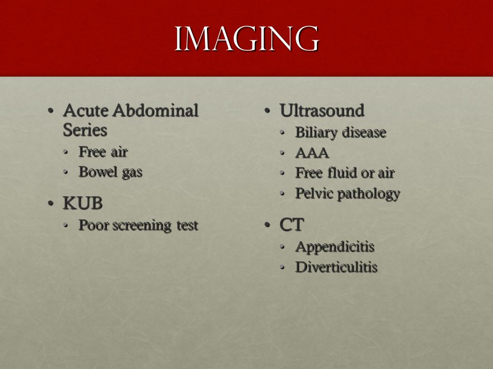 Imaging Acute Abdominal Series KUB Ultrasound CT Biliary disease