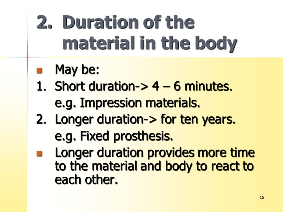 2. Duration of the material in the body