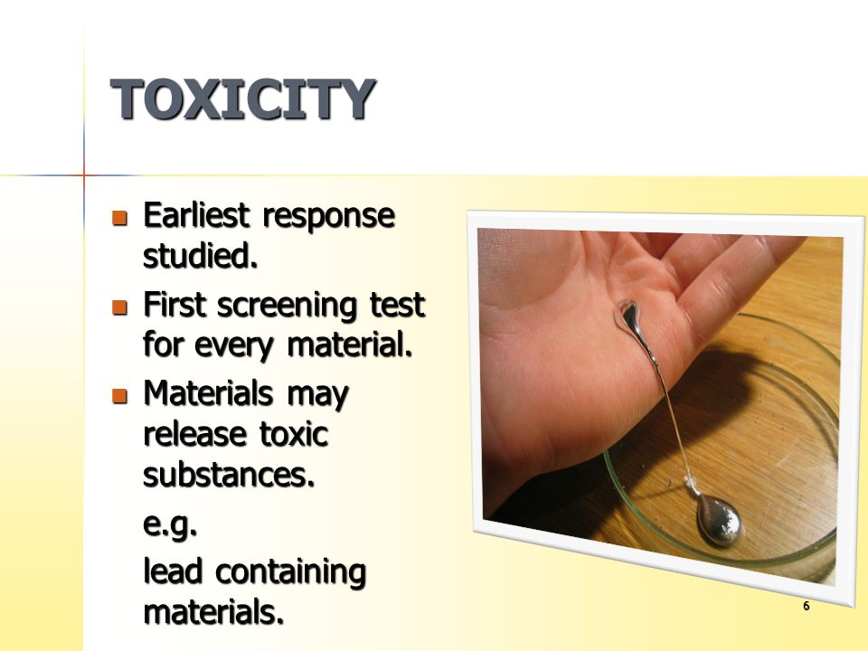 TOXICITY Earliest response studied.