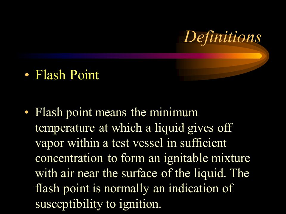Definitions Flash Point