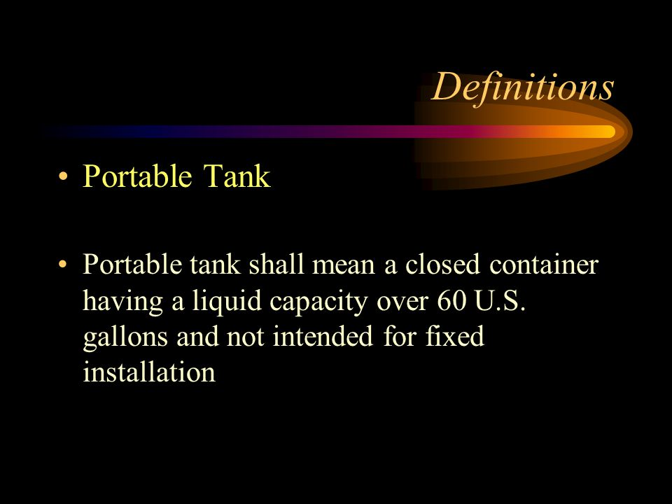 Definitions Portable Tank