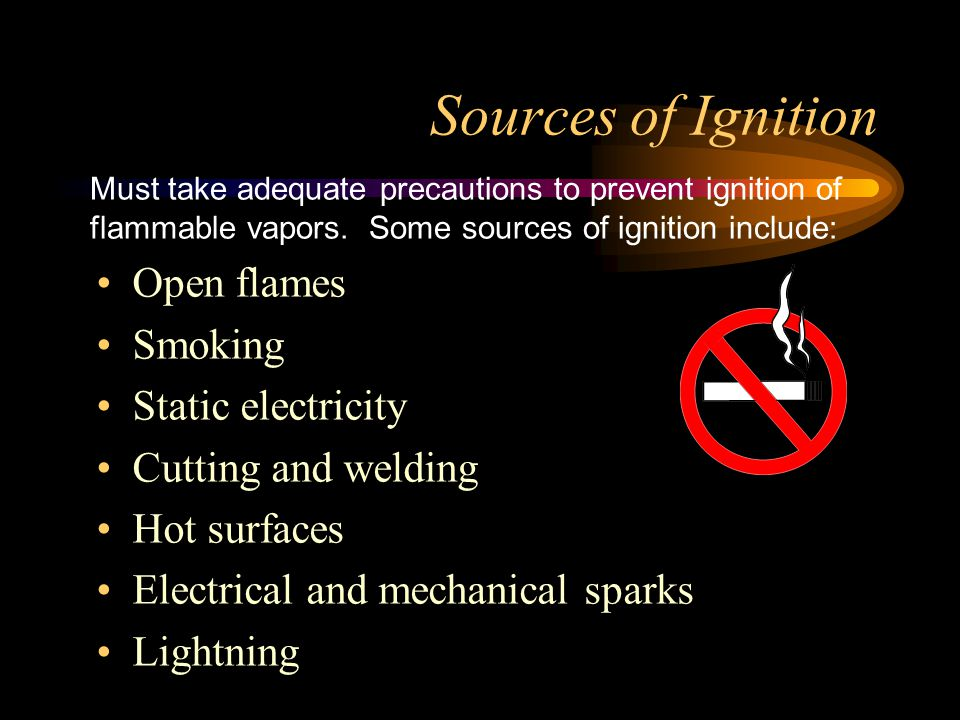 Sources of Ignition Open flames Smoking Static electricity