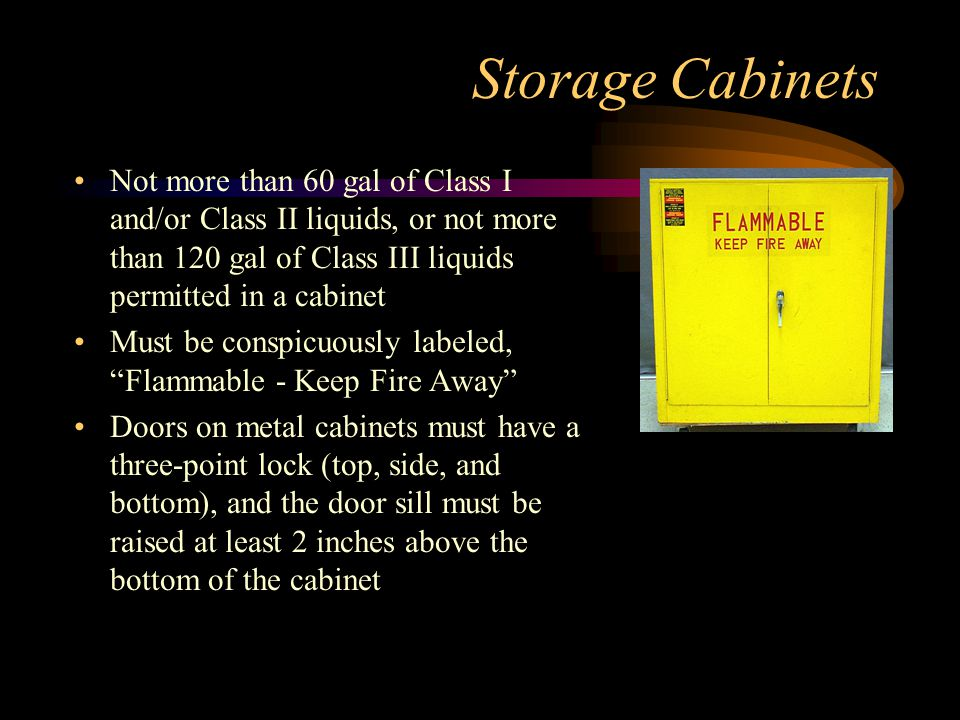 Storage Cabinets Not more than 60 gal of Class I and/or Class II liquids, or not more than 120 gal of Class III liquids permitted in a cabinet.
