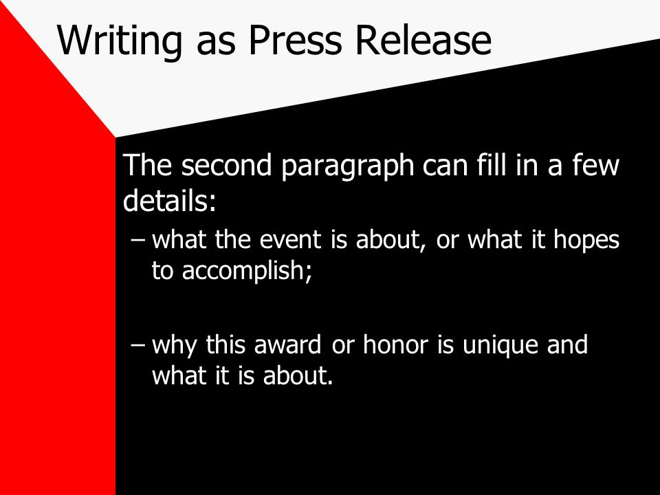 Writing as Press Release