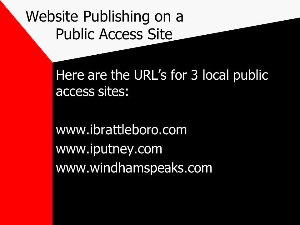 Website Publishing on a Public Access Site