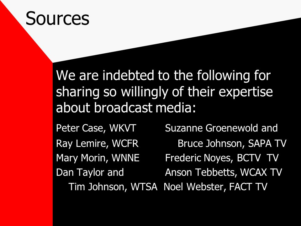 SourcesWe are indebted to the following for sharing so willingly of their expertise about broadcast media: