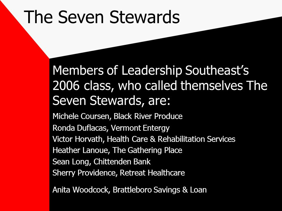 The Seven StewardsMembers of Leadership Southeast's 2006 class, who called themselves The Seven Stewards, are: