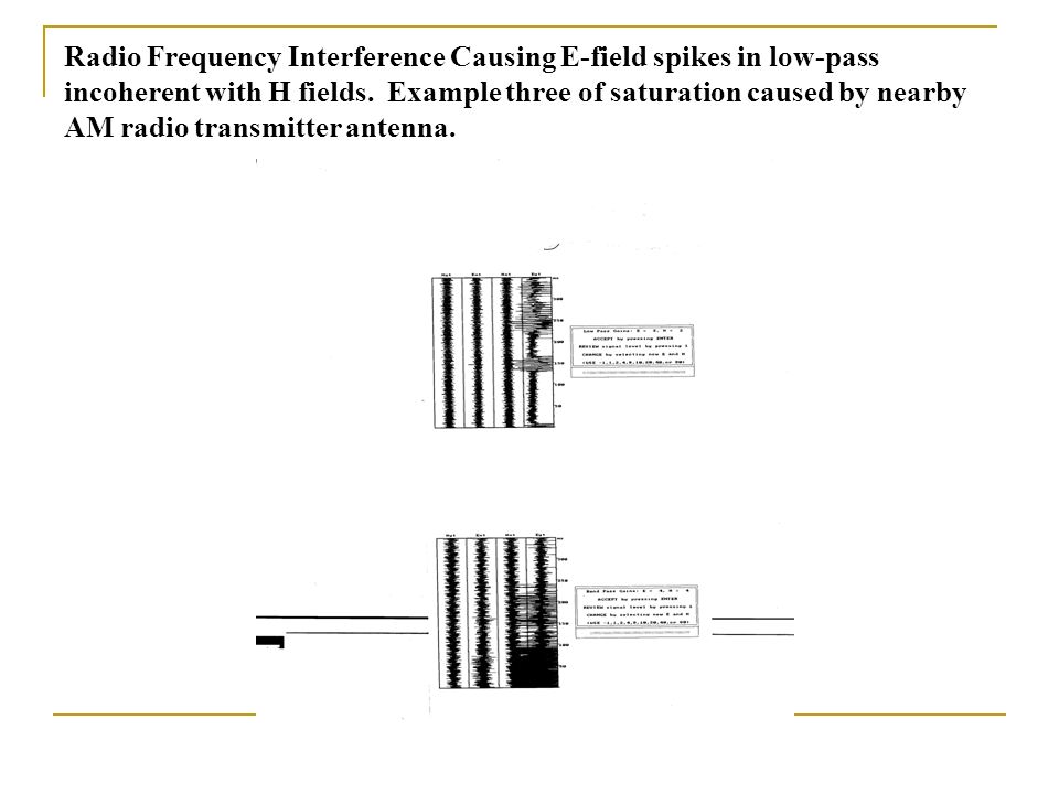 Radio Frequency Interference Causing E-field spikes in low-pass incoherent with H fields.