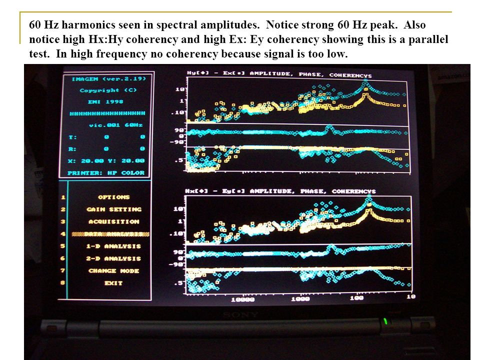 60 Hz harmonics seen in spectral amplitudes. Notice strong 60 Hz peak