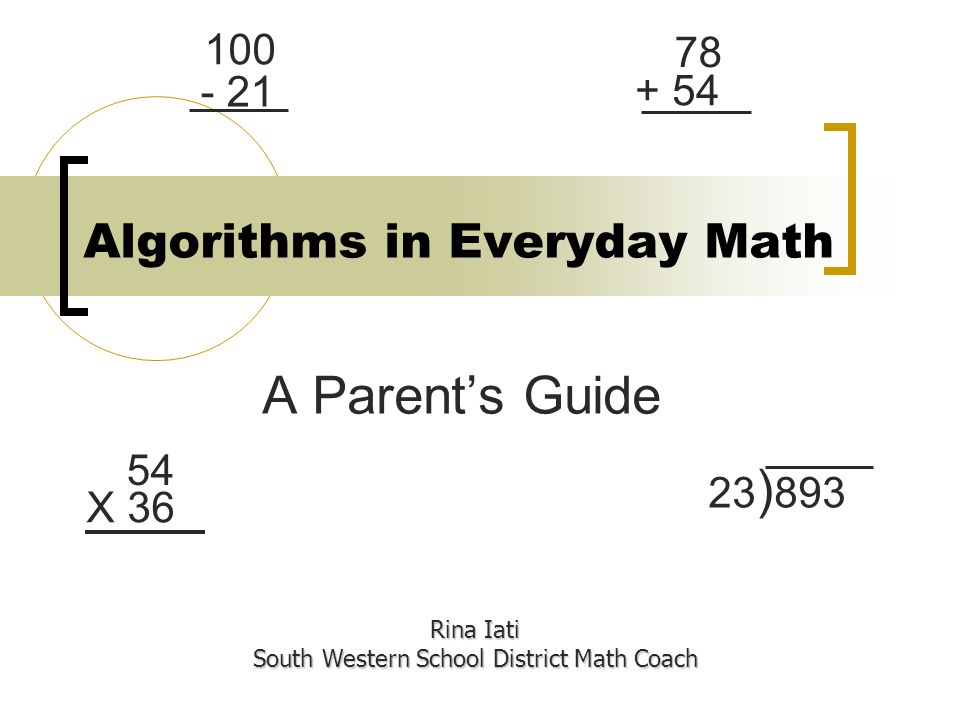 Algorithms in Everyday Math