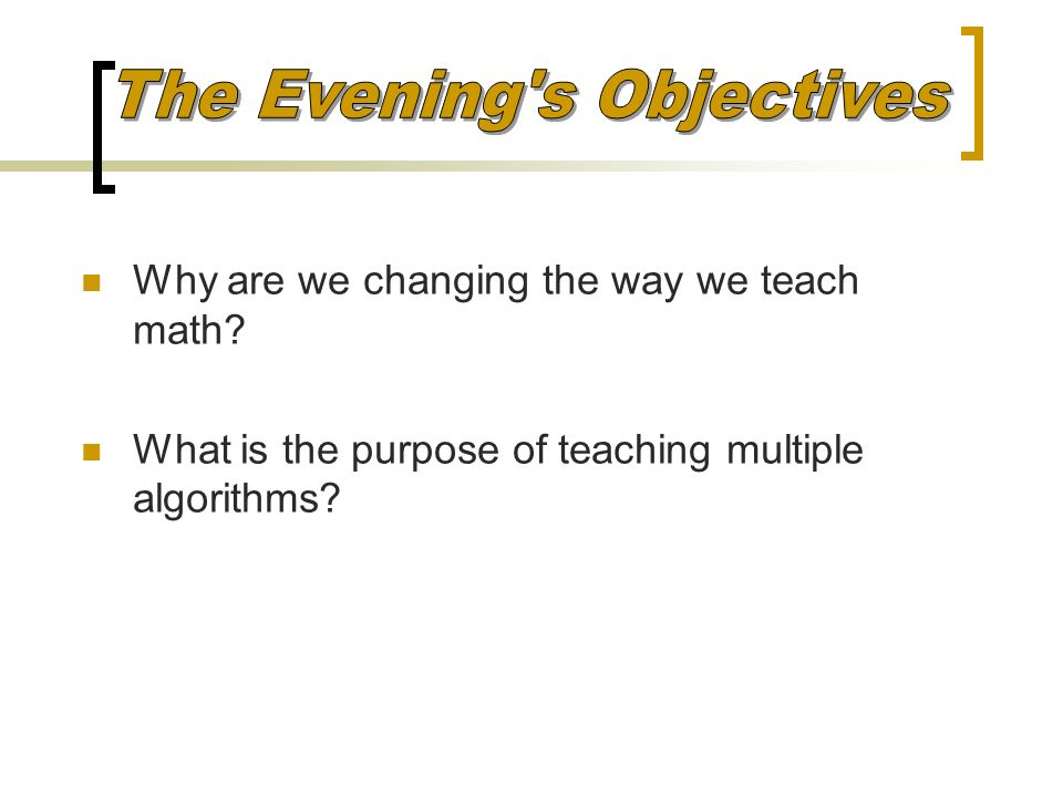 The Evening s Objectives