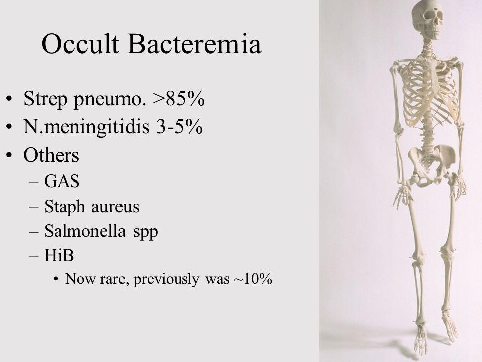 Occult Bacteremia Strep pneumo. >85% N.meningitidis 3-5% Others GAS