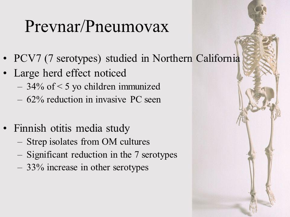 Prevnar/Pneumovax PCV7 (7 serotypes) studied in Northern California