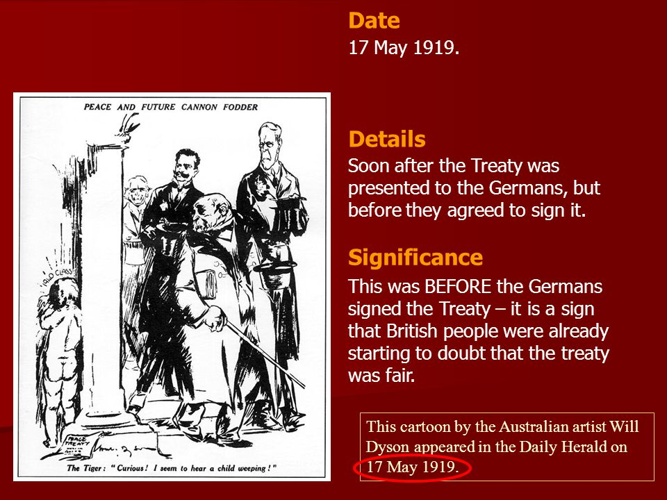 Date Details Significance 17 May 1919.