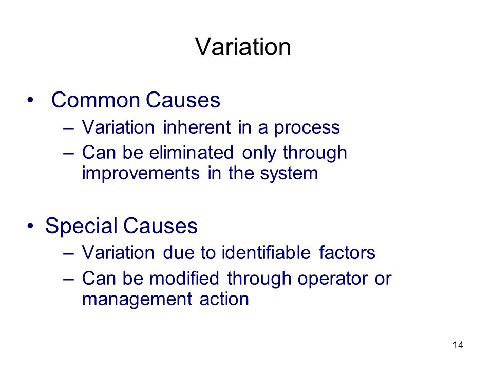 Variation Common Causes Special Causes Variation inherent in a process
