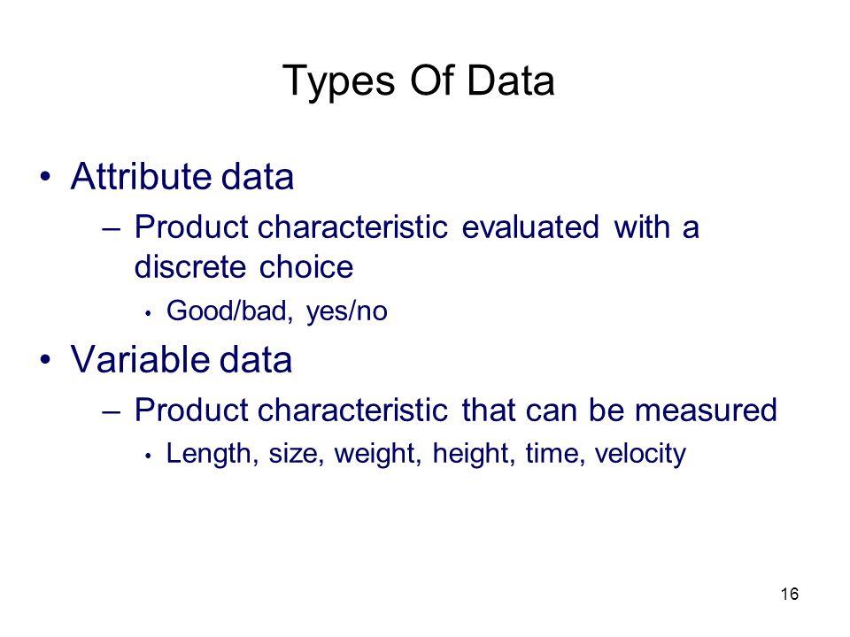 Types Of Data Attribute data Variable data
