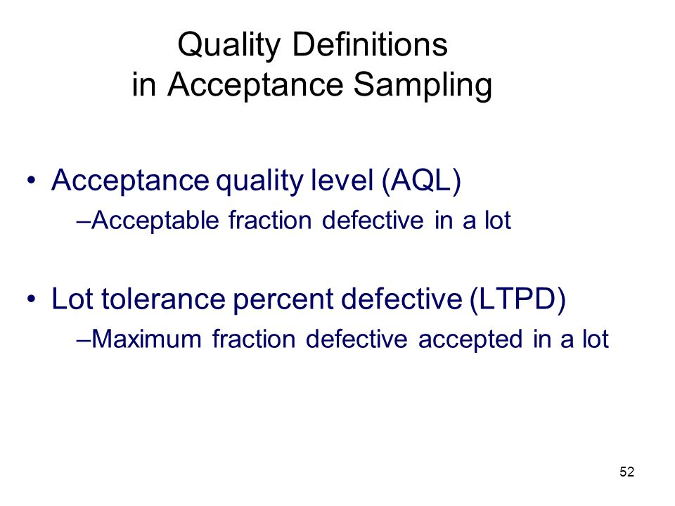 Quality Definitions in Acceptance Sampling