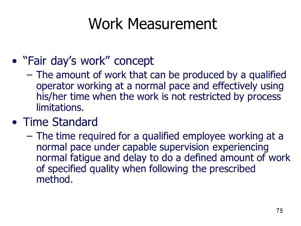 Work Measurement Fair day's work concept Time Standard