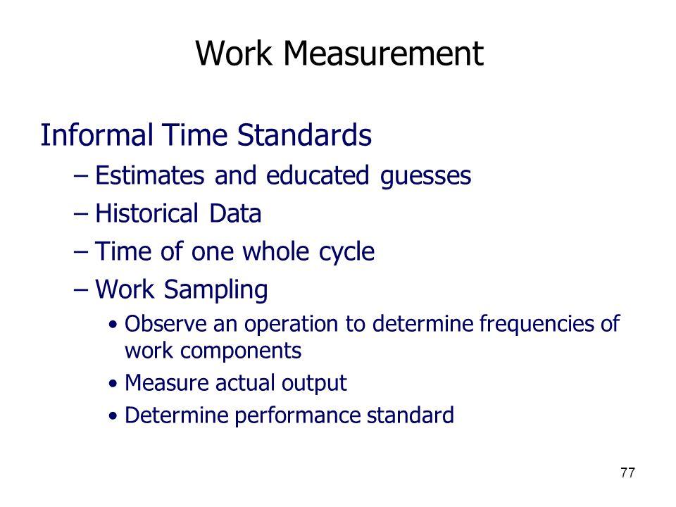Work Measurement Informal Time Standards